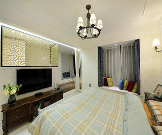 三居室美式装修电视柜图片
