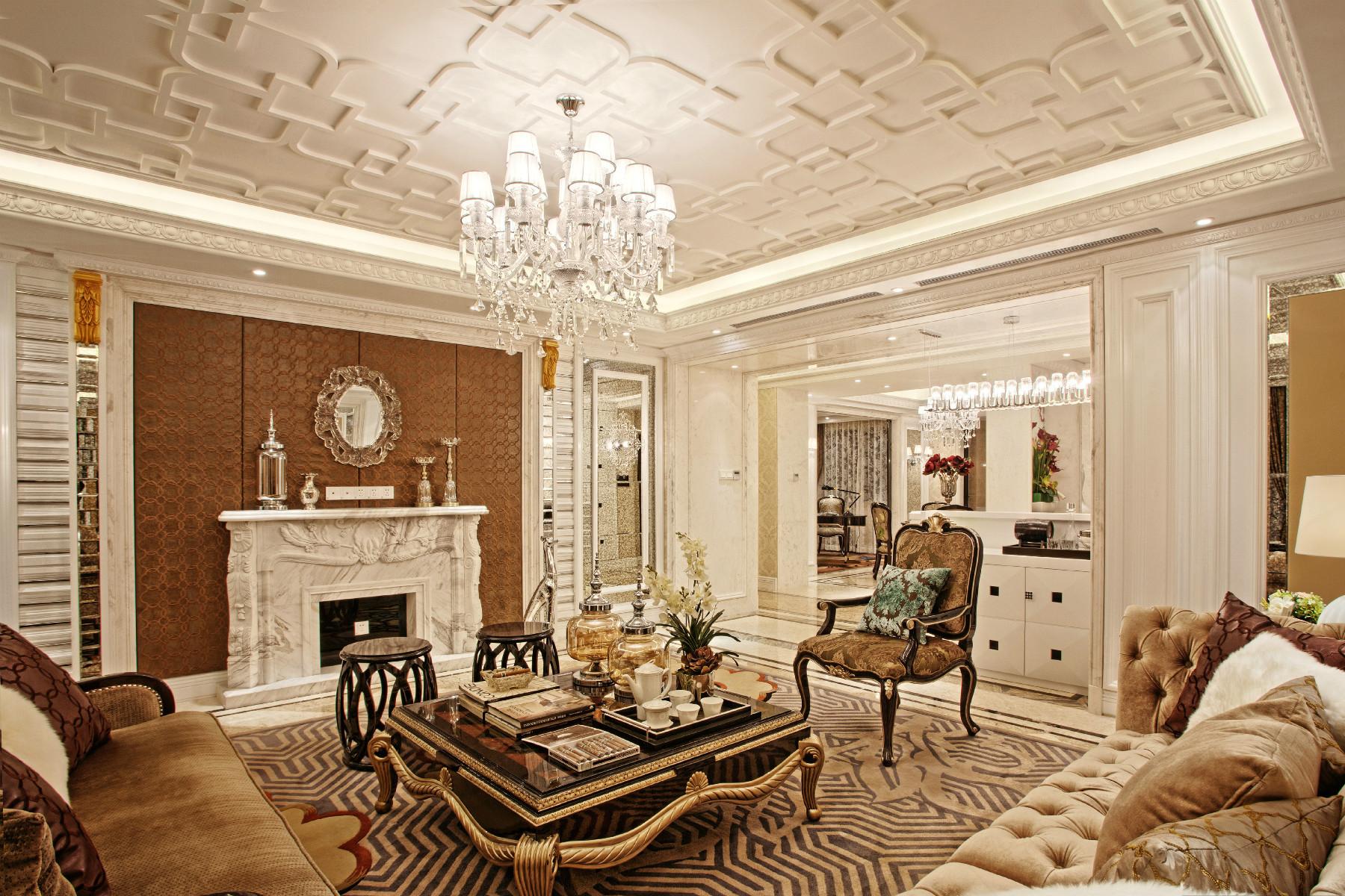 欧式别墅装修客厅顶面造型设计