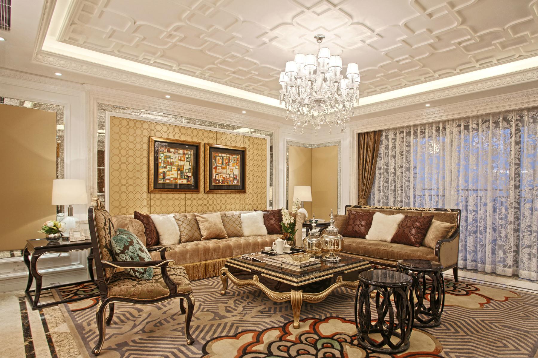 欧式别墅装修沙发背景墙图片