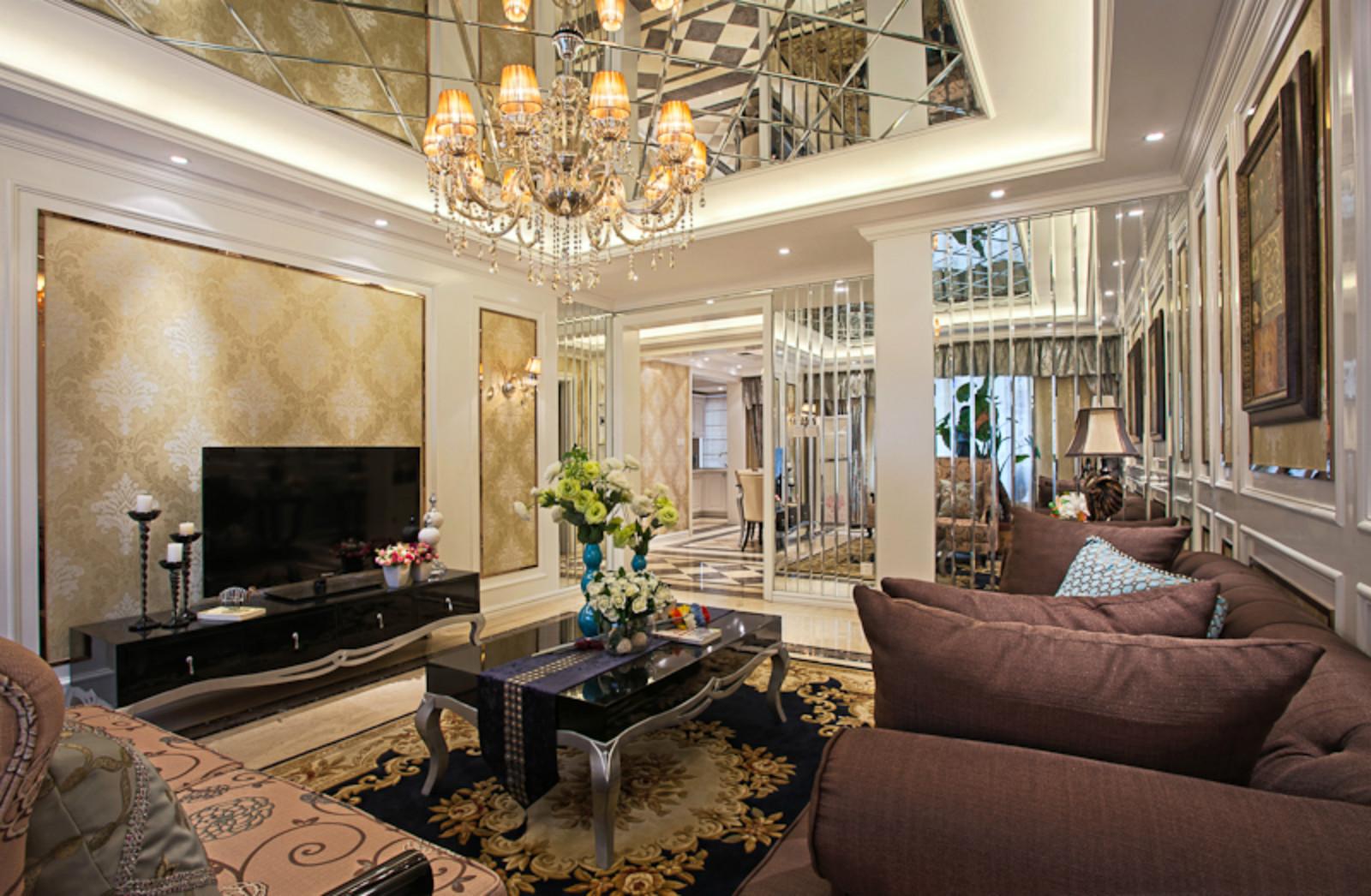 130平欧式装修客厅效果图