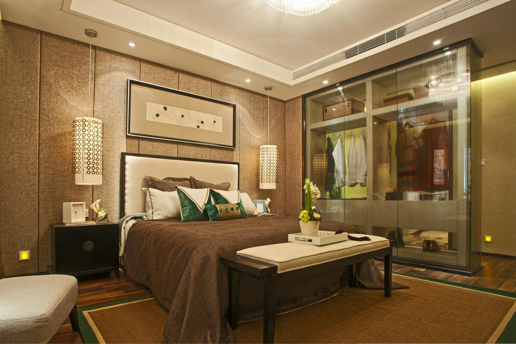大户型新中式装修卧室背景墙图片