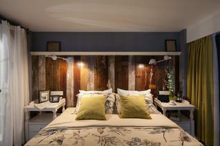 70平挑高小复式装修床头背景墙图片
