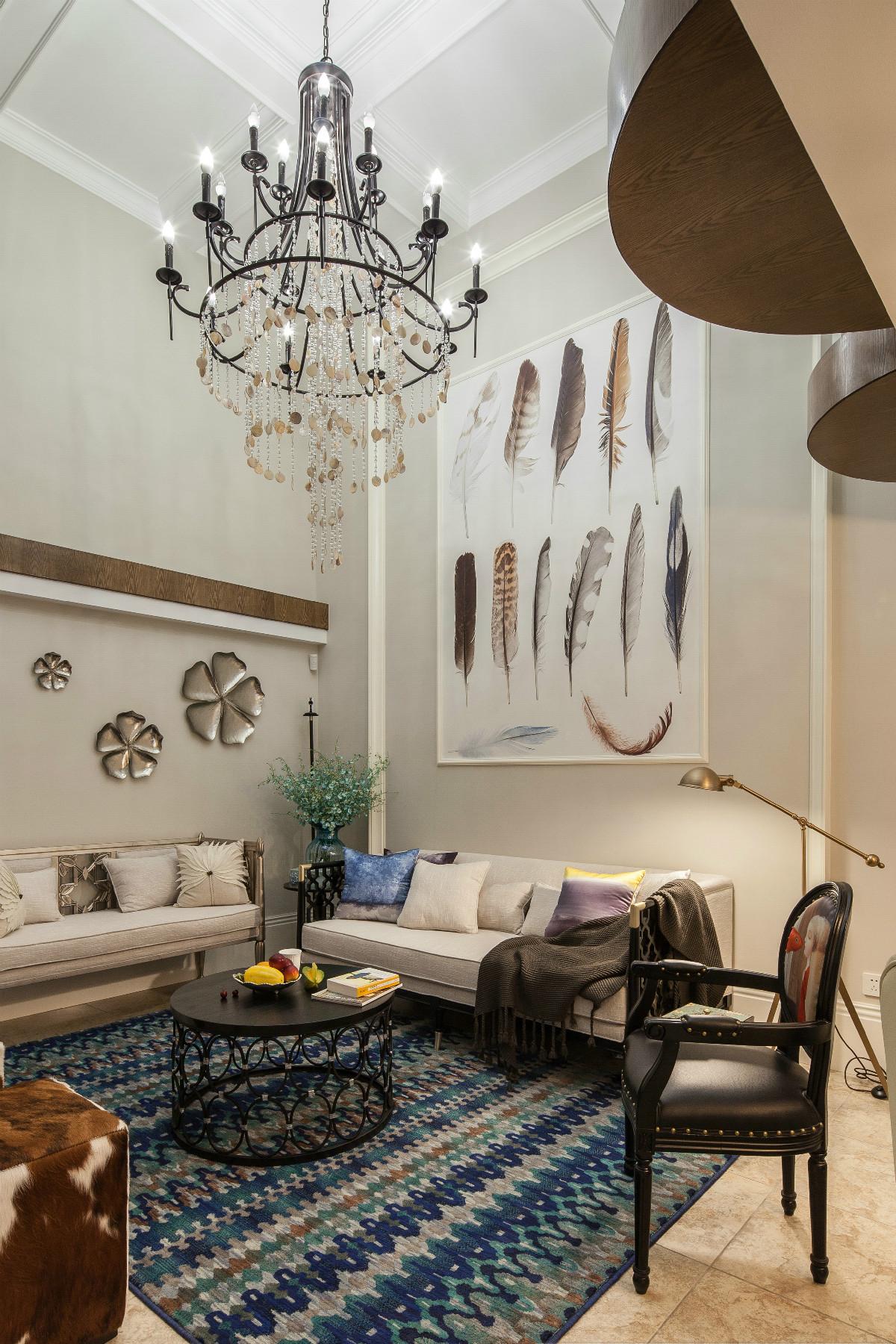 70平挑高小复式装修沙发背景墙图片
