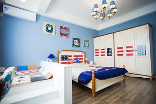 100平混搭风二居装修床头背景墙图片