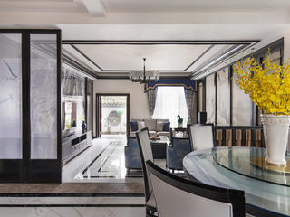 新中式别墅装修客厅吊顶