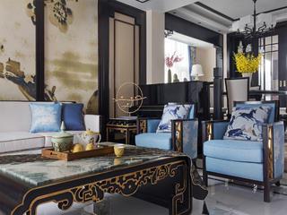 新中式别墅装修客厅一角