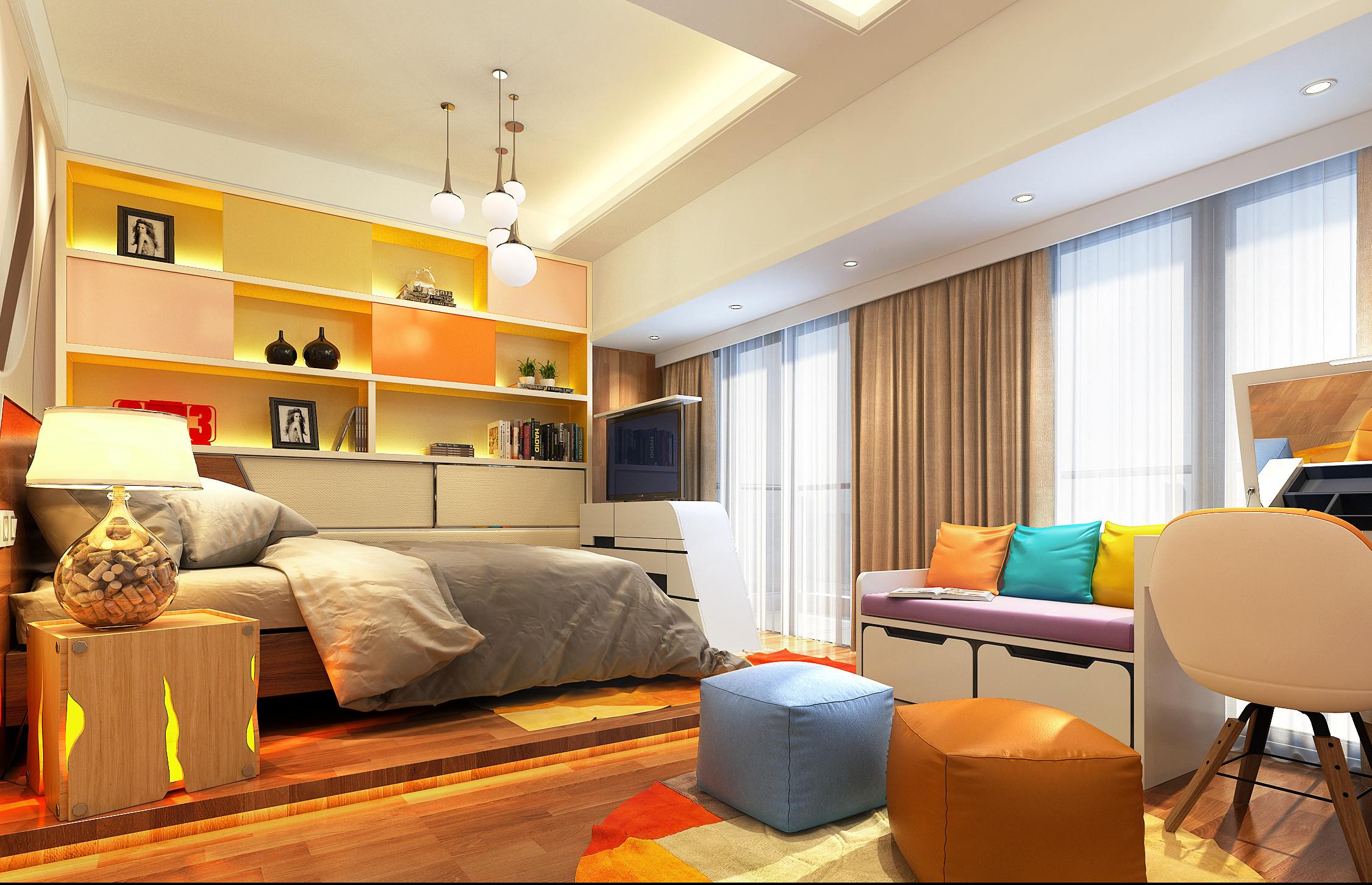 现代简约装修卧室效果图