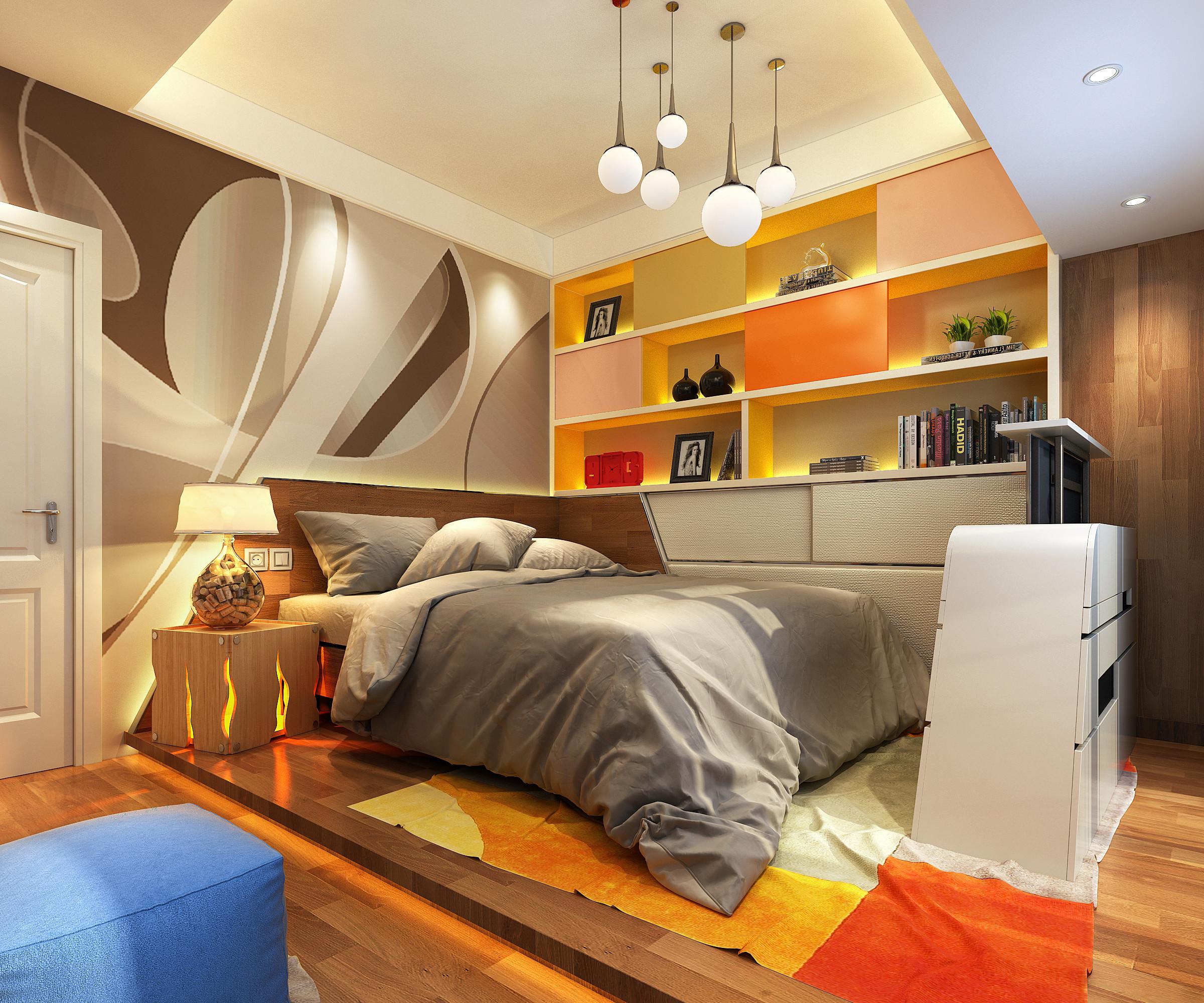 现代简约装修床头背景墙设计