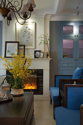 145平蓝调美式装修壁炉图片