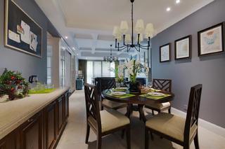 145平蓝调美式装修餐厅设计图