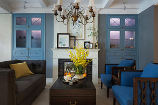 145平蓝调美式装修客厅搭配图
