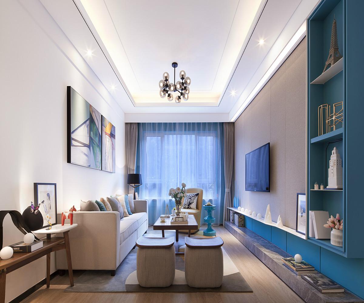 现代简约风格三居客厅布置图
