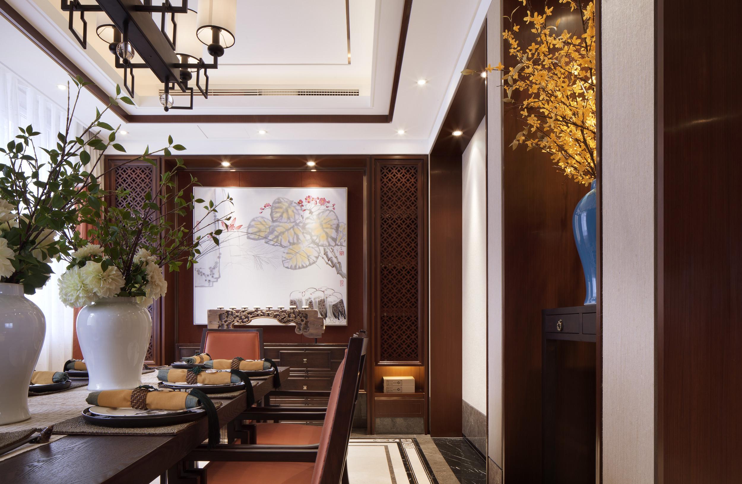 160平中式装修餐厅背景墙图片