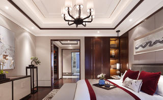 160平中式装修床品图片