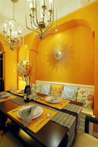 110㎡美式风装修餐厅背景墙图片