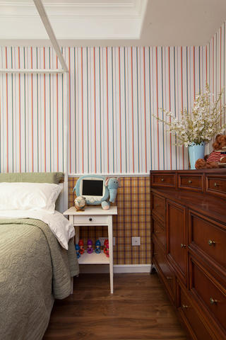轻美复式装修床头背景墙图片