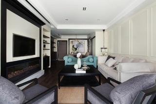 105平现代英伦风格家客厅布置图