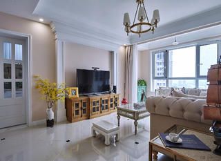 美式二居装修设计电视背景墙图片