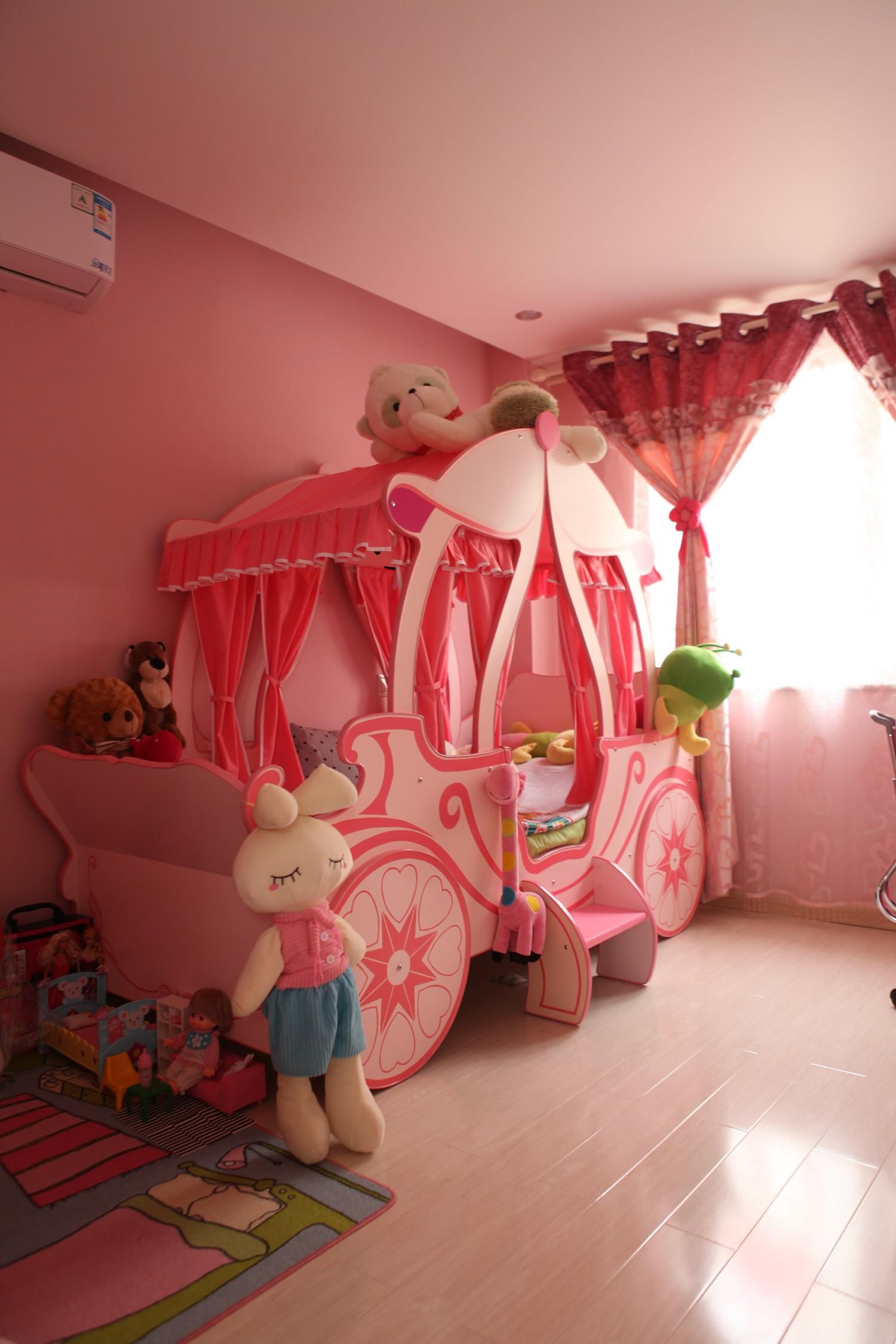 120平简约三居装修儿童床图片