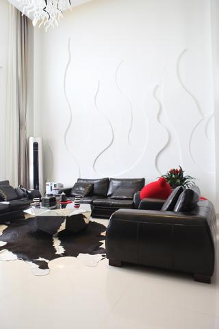 120平简约三居装修沙发背景墙图片