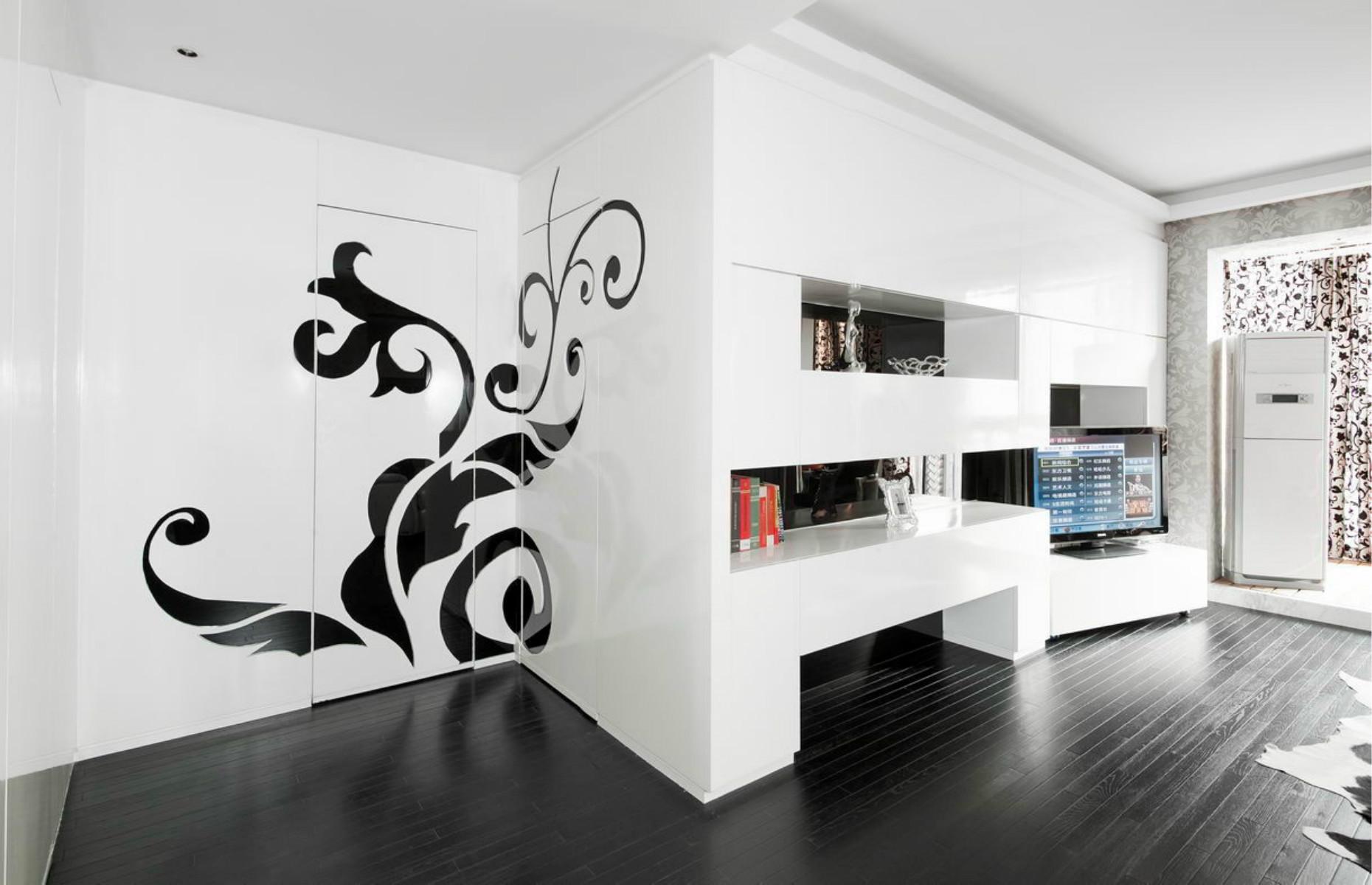 现代简约三居客厅过道图片