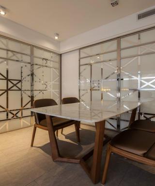 复式现代风格装修餐厅背景墙图片