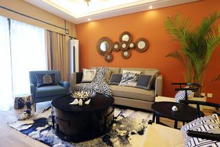 100平新中式设计客厅布置图