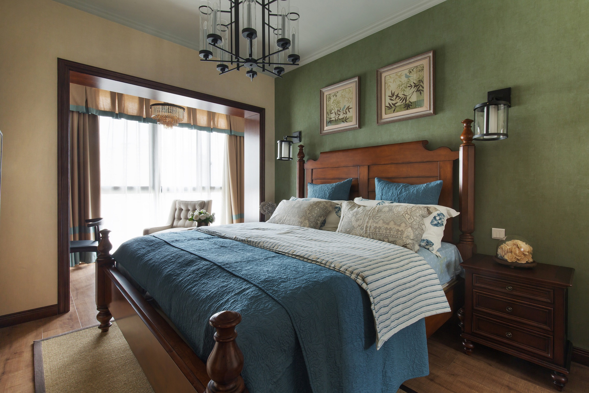 三居室美式风格装修主卧设计图
