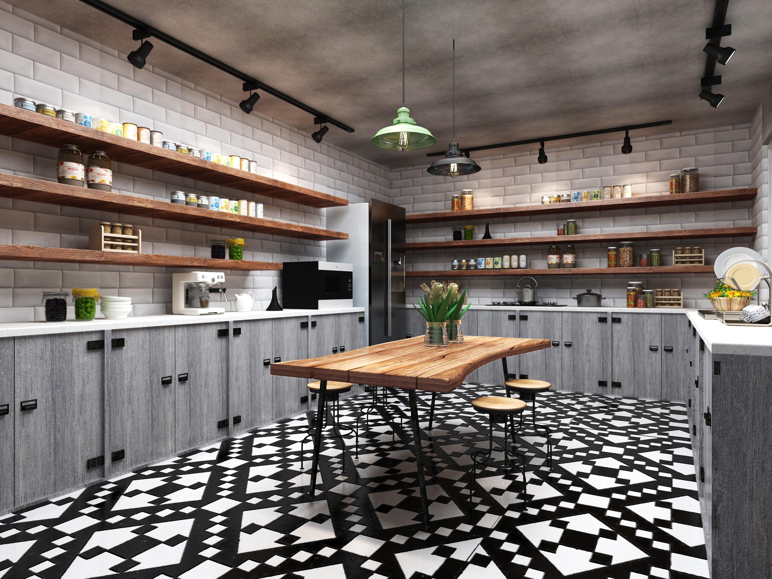 Loft风格装修厨餐厅效果图