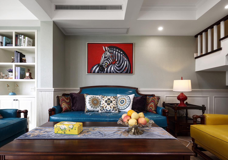 美式复式装修沙发墙图片