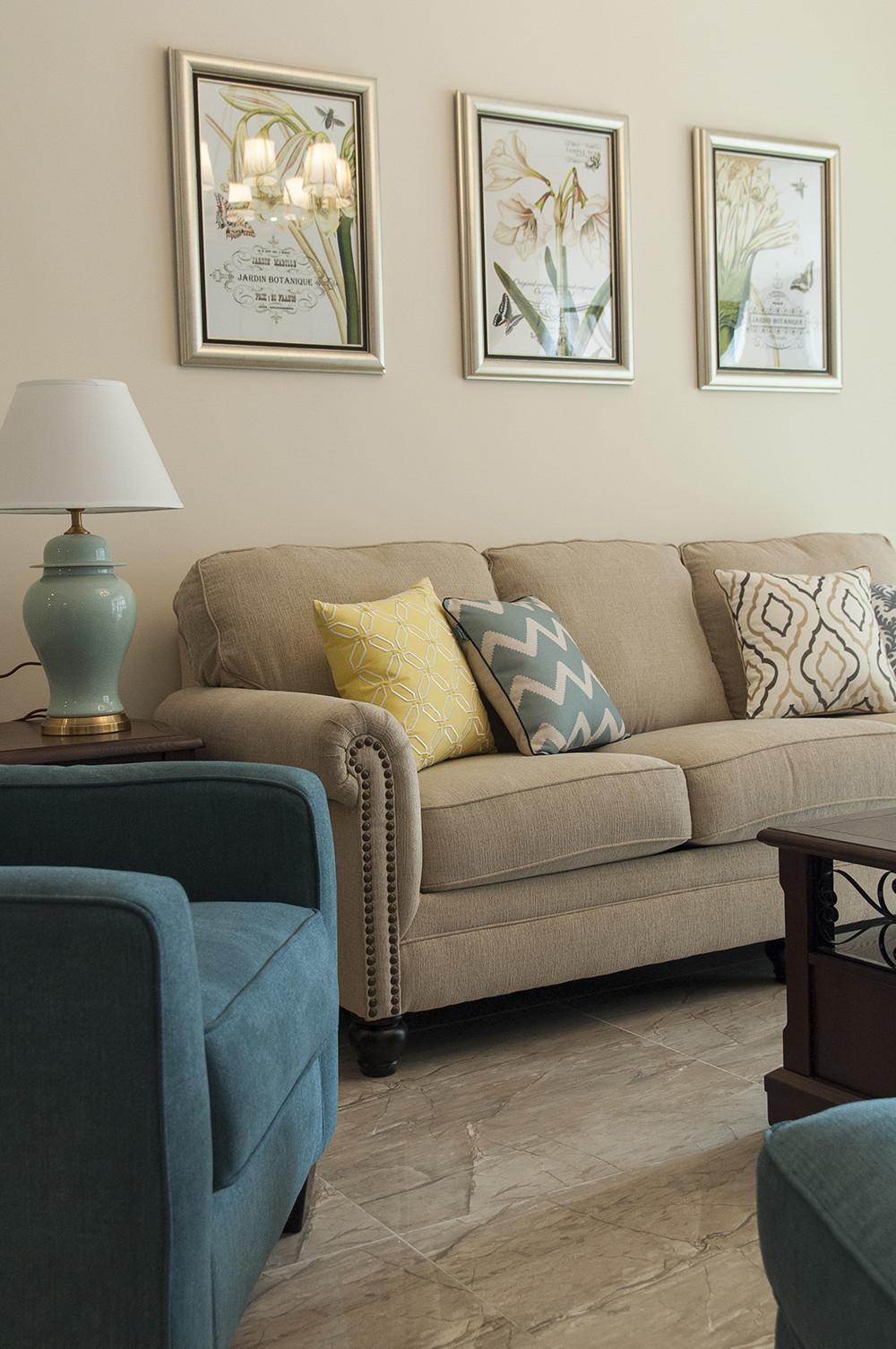 150平清新小美式装修客厅一角