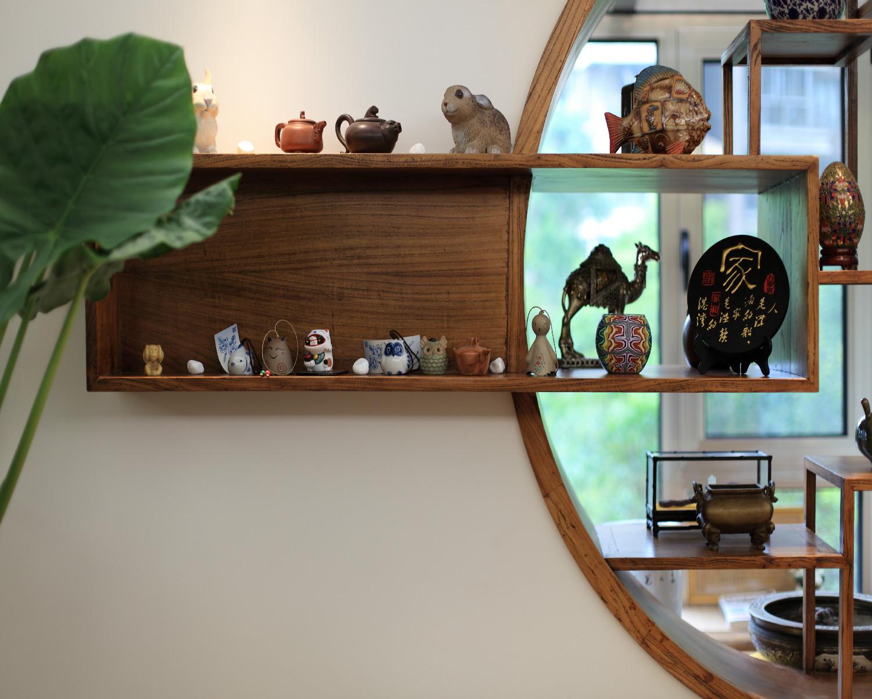 130平中式风格装修博古架图片
