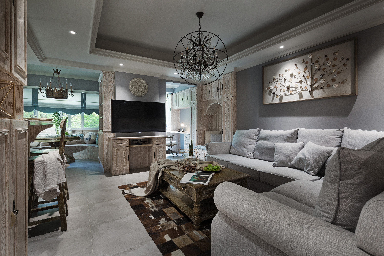 214㎡美式设计客厅搭配图