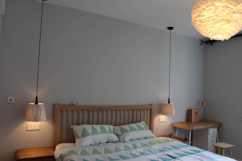 90平北欧装修卧室背景墙图片
