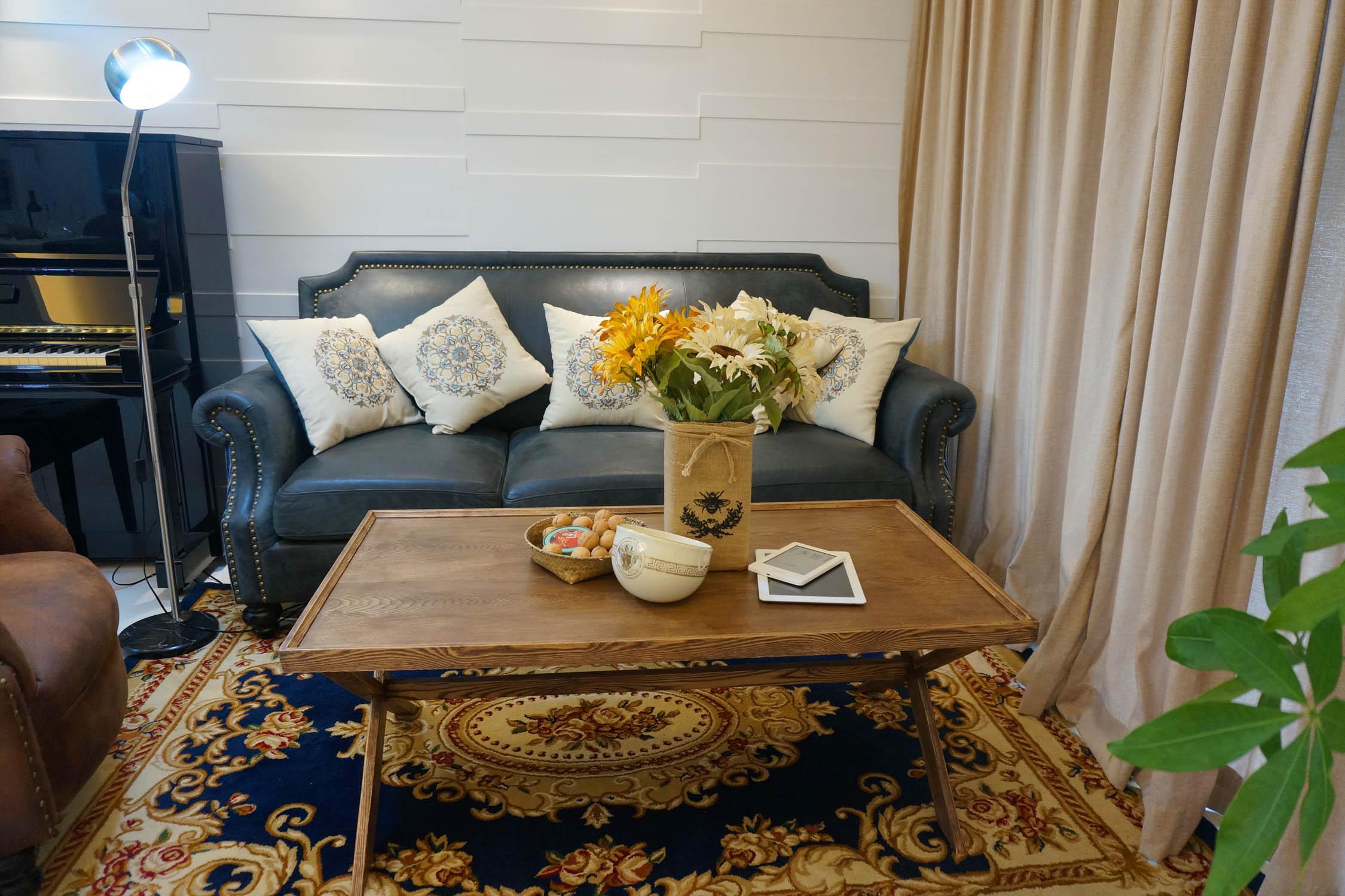 美式混搭二居装修沙发背景墙图片