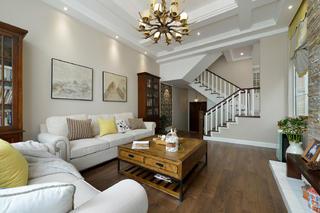 现代美式别墅装修沙发背景墙图片