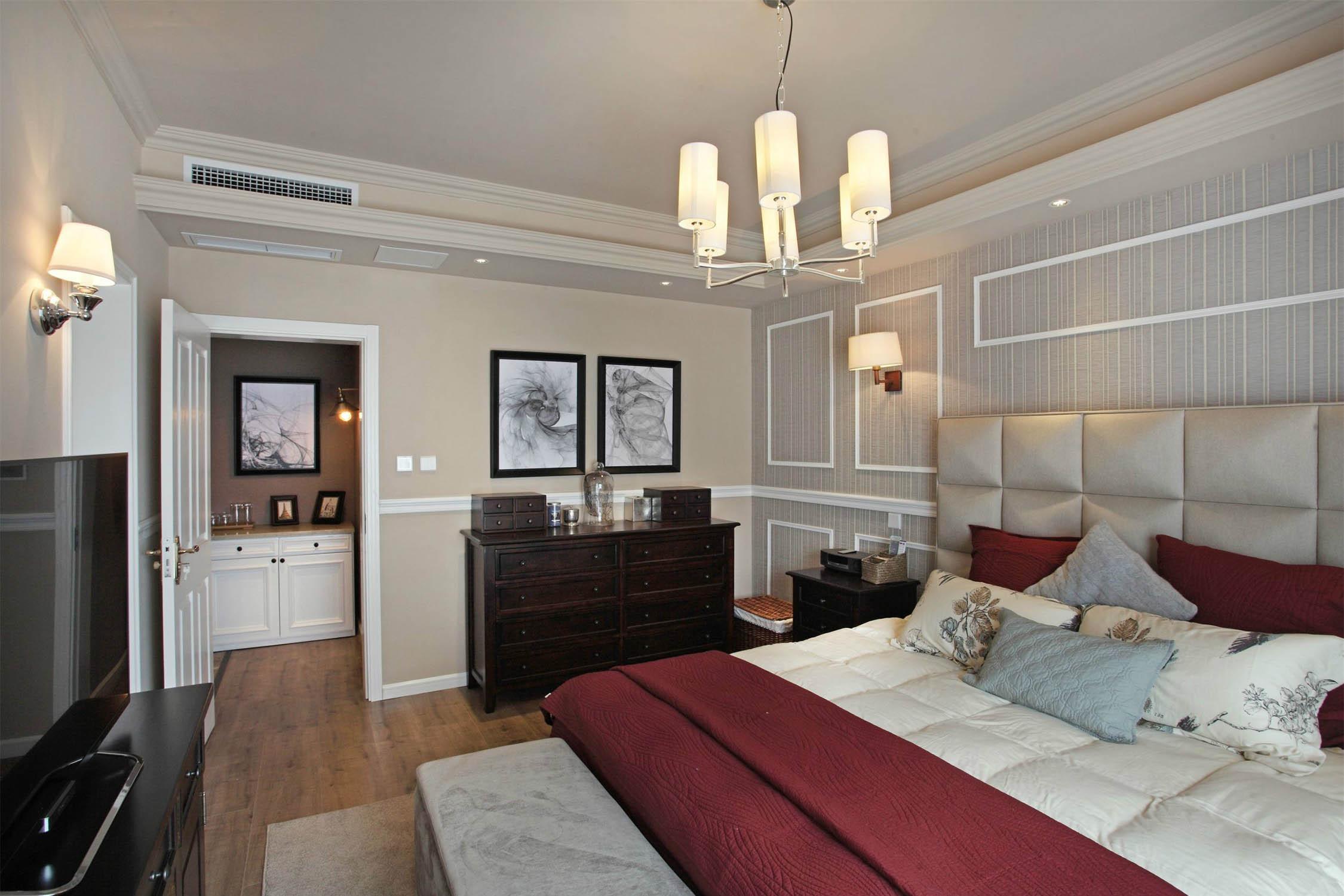 美式风格别墅装修床上用品图片