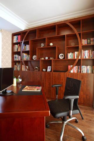 欧美中式混搭别墅装修书房布置图