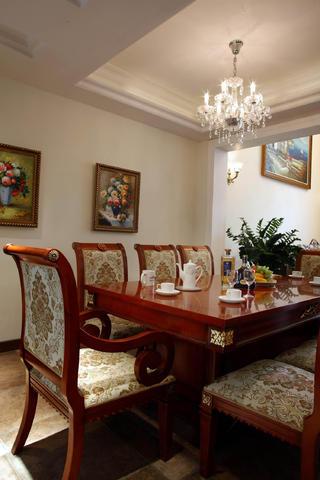 欧美中式混搭别墅装修餐桌椅图片