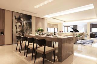大户型现代风装修餐客厅布局图
