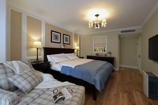 160平美式风格家卧室背景墙图片
