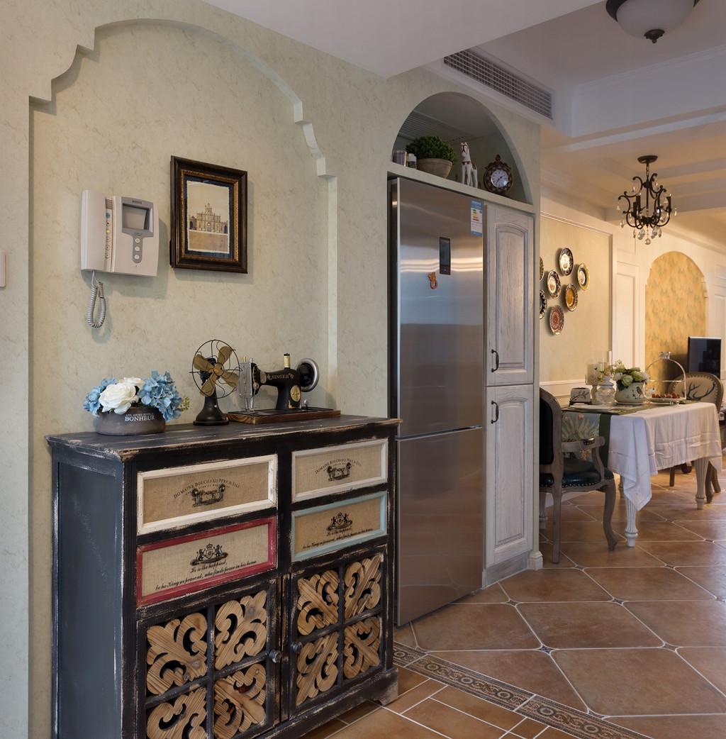 美式复式装修玄关柜图片