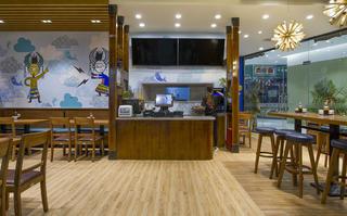 90平东南亚风格餐厅装修收银台