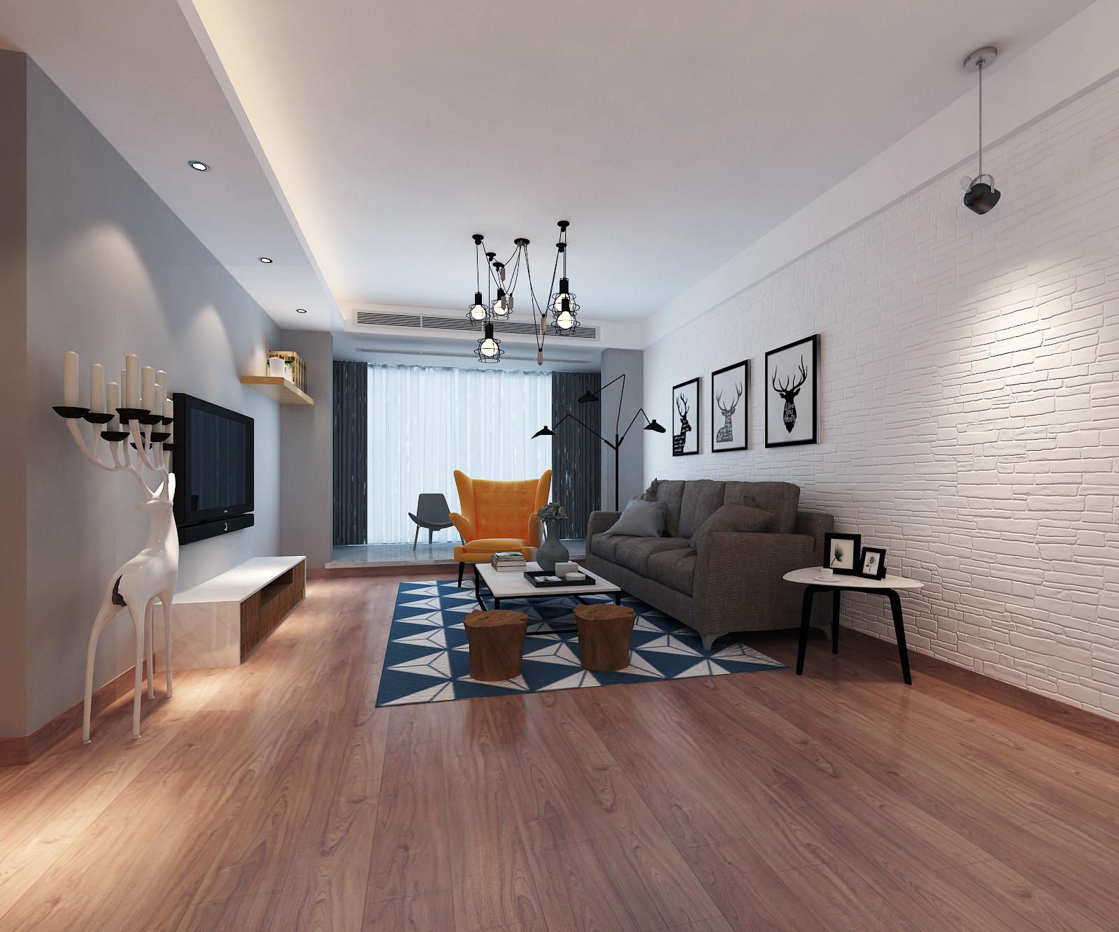 110平北欧装修客厅效果图