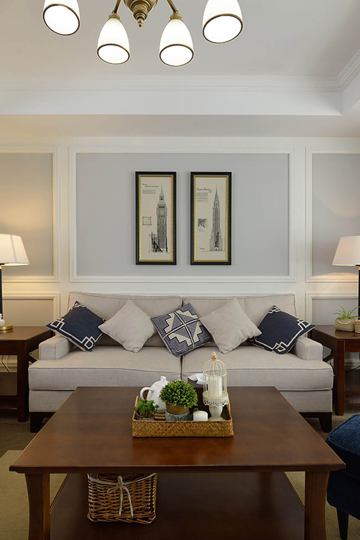 简美二居室装修沙发背景墙图片