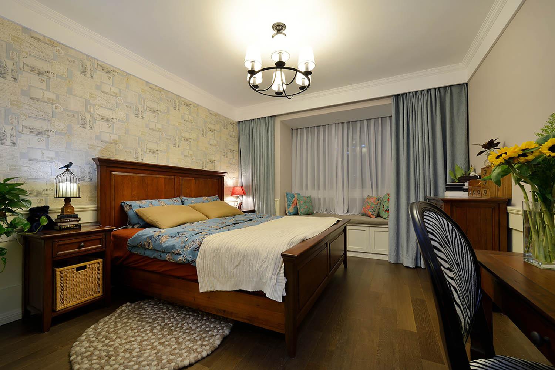 130平美式装修卧室效果图