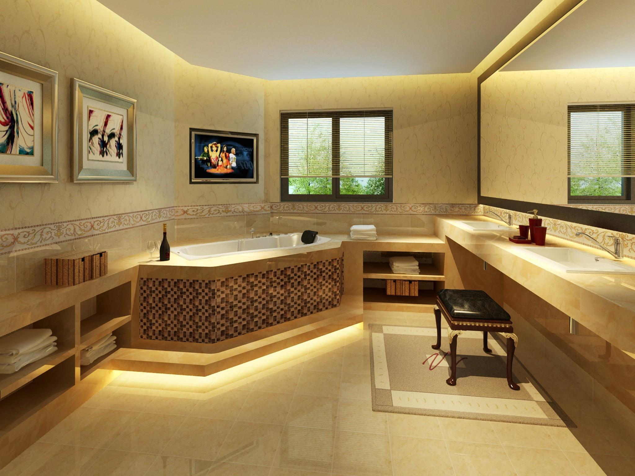 中式别墅装修卫生间效果图
