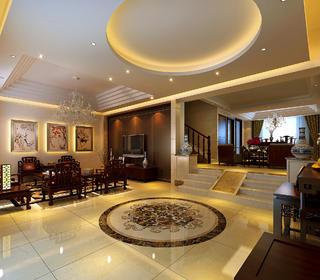 中式别墅装修门厅效果图