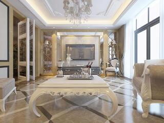 新古典欧式风情别墅装修电视背景墙图片