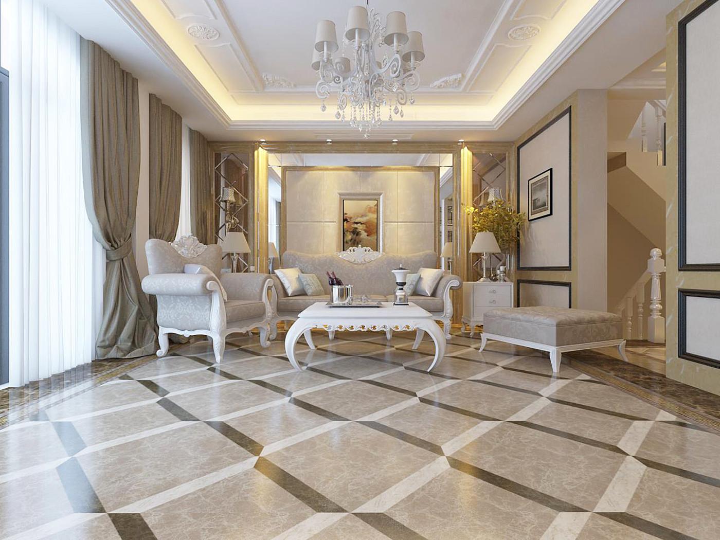 新古典欧式风情别墅装修沙发背景墙图片
